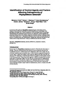 Identification of Control Agents and Factors Affecting Pathogenicity of ...