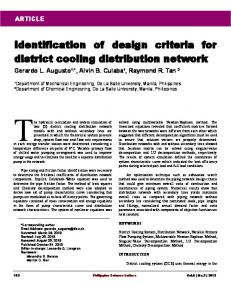 Identification of design criteria for district cooling