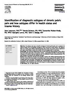 Identification of diagnostic subtypes of chronic pelvic pain and how ...