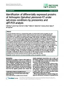 Identification of differentially expressed proteins ofArthrospira ...
