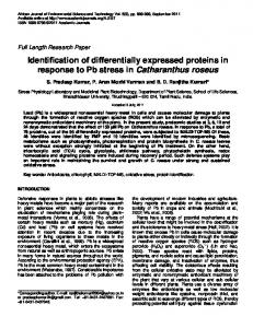Identification of differentially expressed proteins in response to Pb