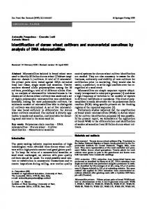 Identification of durum wheat cultivars and ... - Springer Link