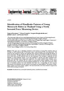 Identification of Handbrake Patterns of Young Motorcycle Riders in