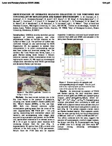 IDENTIFICATION OF HYDRATED SULFATES COLLECTED IN THE ...