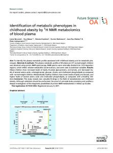 Identification of metabolic phenotypes in childhood obesity by H NMR