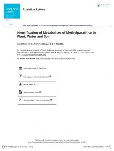 Identification of Metabolites of Methylparathion in ...