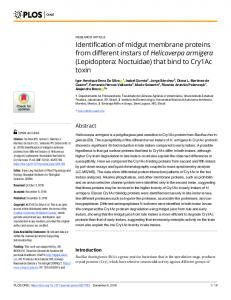 Identification of midgut membrane proteins from different ... - PLOS