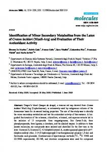 Identification of Minor Secondary Metabolites from the Latex of Croton ...