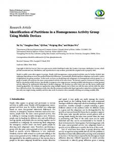 Identification of Partitions in a Homogeneous Activity Group Using ...