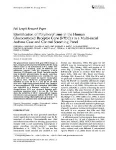 Identification of Polymorphisms in the Human Glucocorticoid Receptor ...
