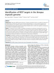 Identification of REST targets in the Xenopus tropicalis genome
