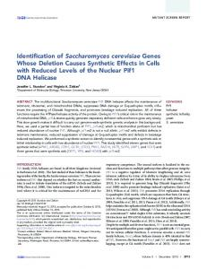 Identification of Saccharomyces cerevisiae Genes Whose Deletion ...