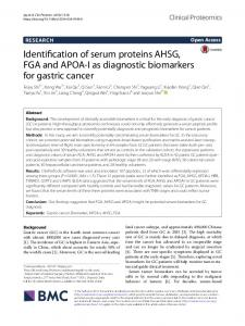 Identification of serum proteins AHSG, FGA and ... - Clinical Proteomics