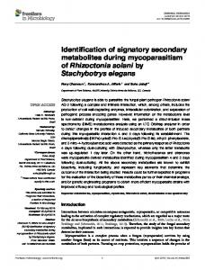 Identification of signatory secondary metabolites