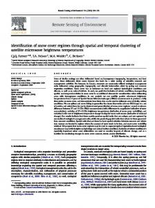 Identification of snow cover regimes through spatial and ... - Geography