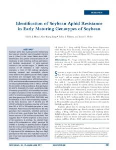 Identification of Soybean Aphid Resistance in Early ...