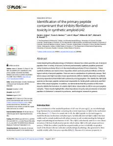 Identification of the primary peptide contaminant that inhibits fibrillation ...