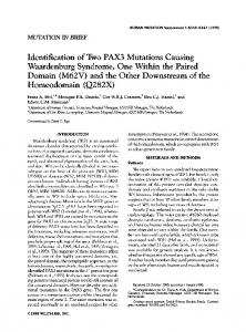 Identification of two PAX3 mutations causing