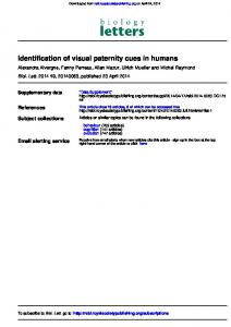 Identification of visual paternity cues in humans