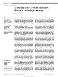 Identification of women with heart disease: a missed opportunity - Nature