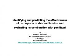 Identifying and predicting the effectiveness of carboplatin in vivo and ...