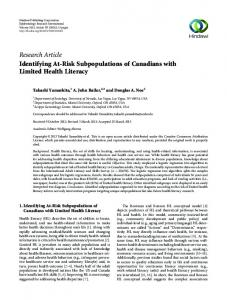 Identifying At-Risk Subpopulations of Canadians with Limited Health ...
