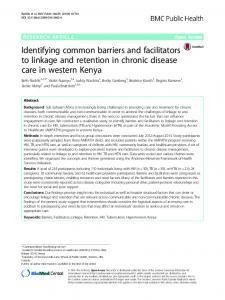 Identifying common barriers and facilitators to linkage ... - Springer Link