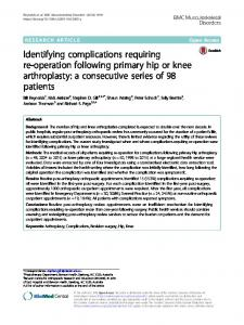 Identifying complications requiring re-operation following primary hip ...