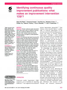 Identifying continuous quality improvement