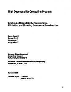 Identifying Dependability - UMD Department of Computer Science