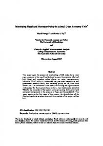 Identifying Fiscal and Monetary Policy in a Small Open ... - CiteSeerX