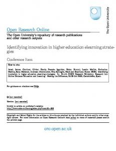 Identifying innovation in higher education elearning strate-gies