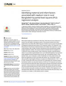 Identifying maternal and infant factors associated