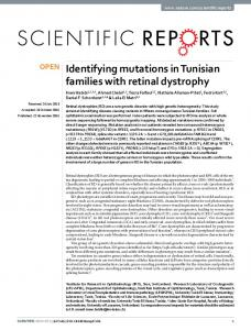 Identifying mutations in Tunisian families with retinal ... - Infoscience