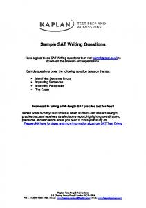 Identifying Sentence Errors - Kaplan Test Prep and Admissions