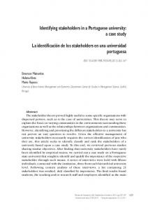 Identifying stakeholders in a Portuguese university: a case study La ...