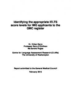 Identifying the appropriate IELTS score levels for IMG applicants to ...