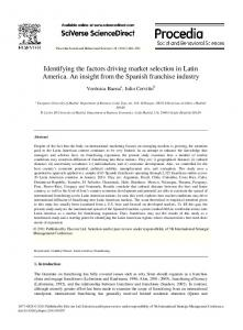 Identifying the factors driving market selection in