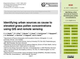Identifying urban sources as cause to elevated grass ... - Biogeosciences
