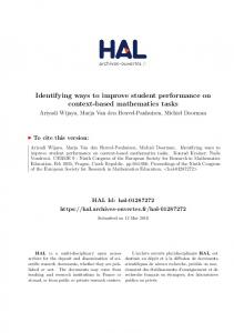 Identifying ways to improve student performance on ... - HAL-Inria