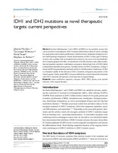 IDH1 and IDH2 mutations as novel therapeutic ... - Semantic Scholar