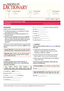 Idioms e-lesson Worksheet - Macmillan Dictionary Blog