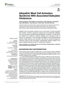 Idiopathic Mast Cell Activation Syndrome With ...
