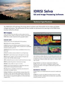 IDRISI Selva Technical Specifications