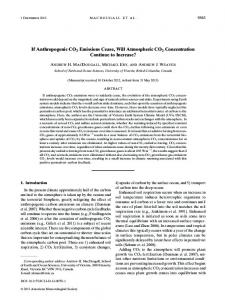 If Anthropogenic CO2 Emissions Cease, Will Atmospheric CO2 ...
