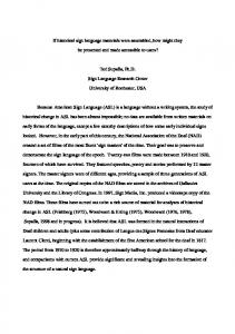 If historical sign language materials were assembled, how might they ...