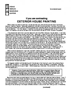 If You Are Contracting EXTERIOR HOUSE PAINTING