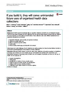 If you build it, they will come: unintended future uses of ... - Springer Link