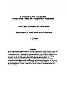 If You Build It, Will They Come? Foreign Aid's Effects on ... - pedl@byu