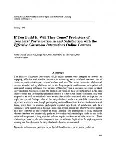 If You Build It, Will They Come? - International Review of Research in ...